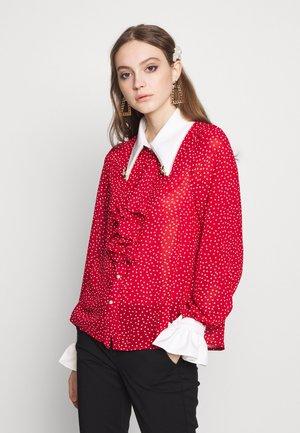 FLUTTER DOT RUFFLE BLOUSE - Overhemdblouse - red