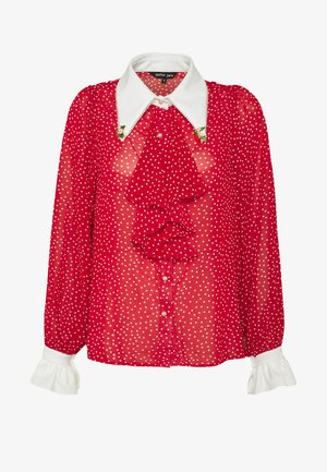 FLUTTER DOT RUFFLE BLOUSE - Camicia - red