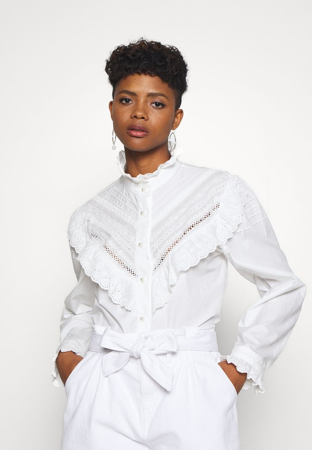 LAWN TRIMMED BLOUSE - Blus - ivory