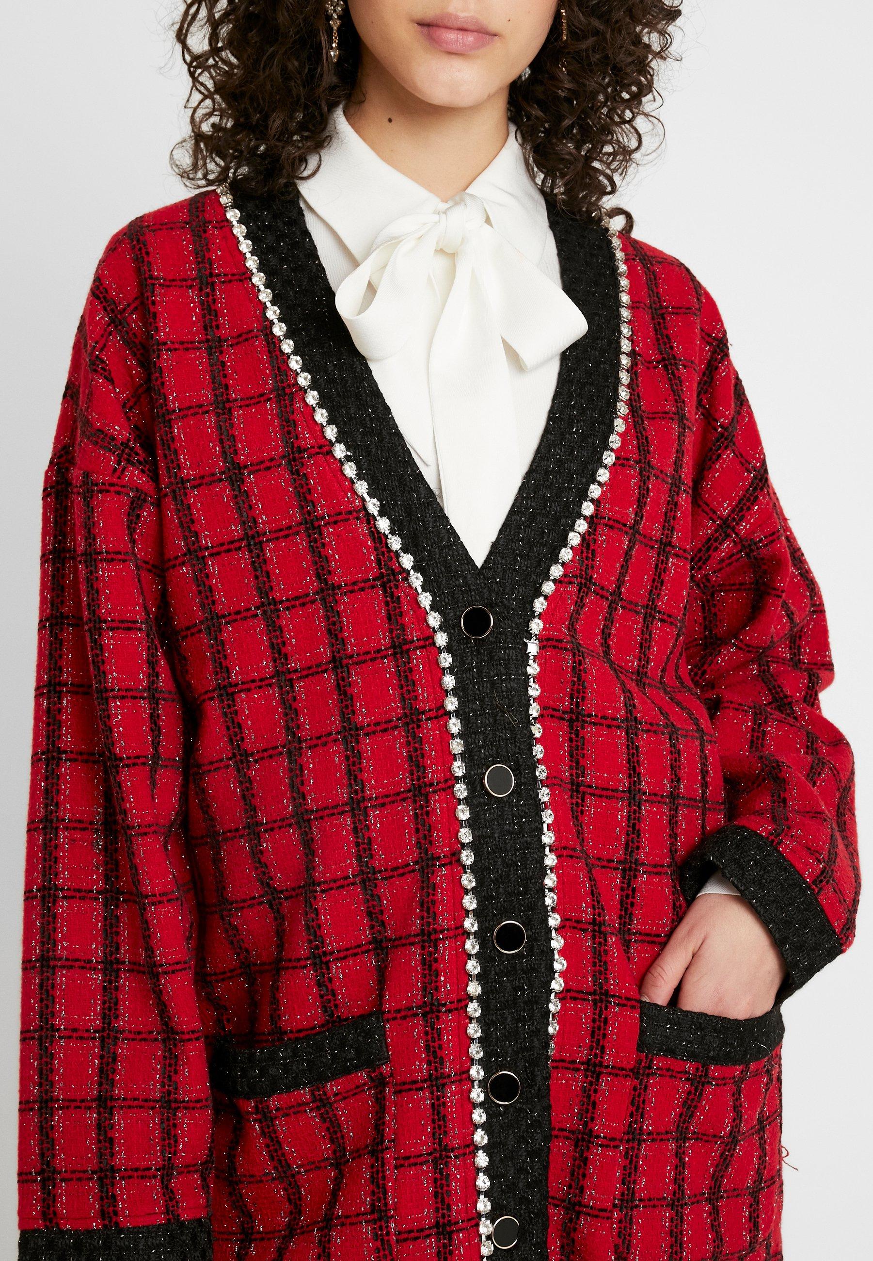 Sister Jane CHECK LONGLINE CARDIGAN - Strickjacke red
