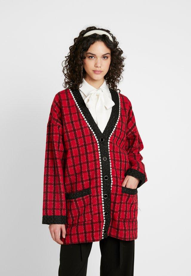 CHECK LONGLINE CARDIGAN - Cardigan - red