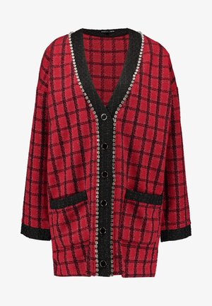 CHECK LONGLINE CARDIGAN - Cardigan - red