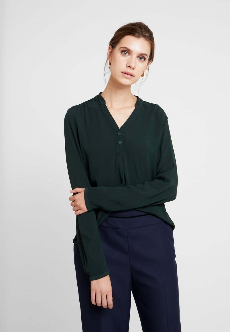 Q/S designed by - LANGARM - Blouse - dark green
