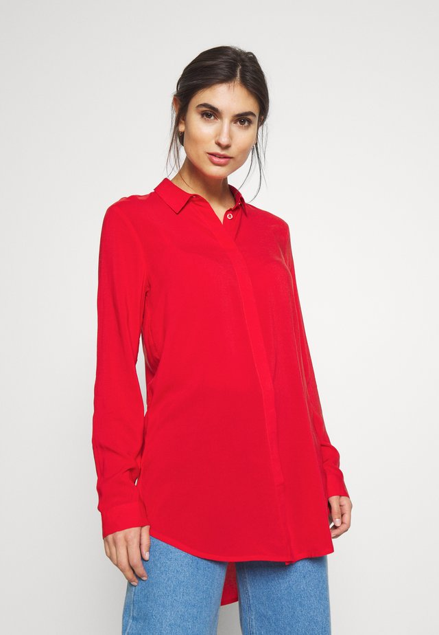 LANGARM - Button-down blouse - flame red