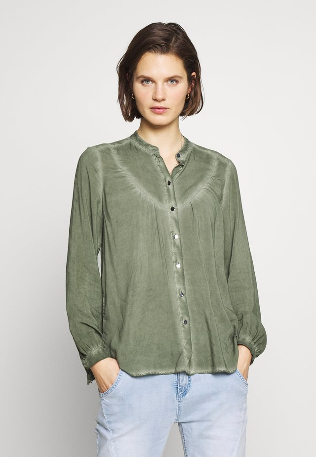 BLUSE - LANGARM - Button-down blouse - olive