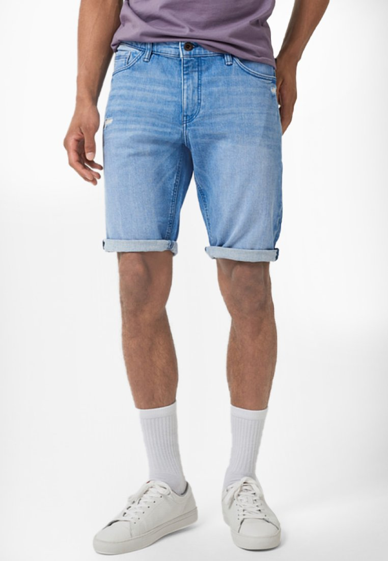 Q/S designed by - BERMUDA - Denim shorts - stone blue denim