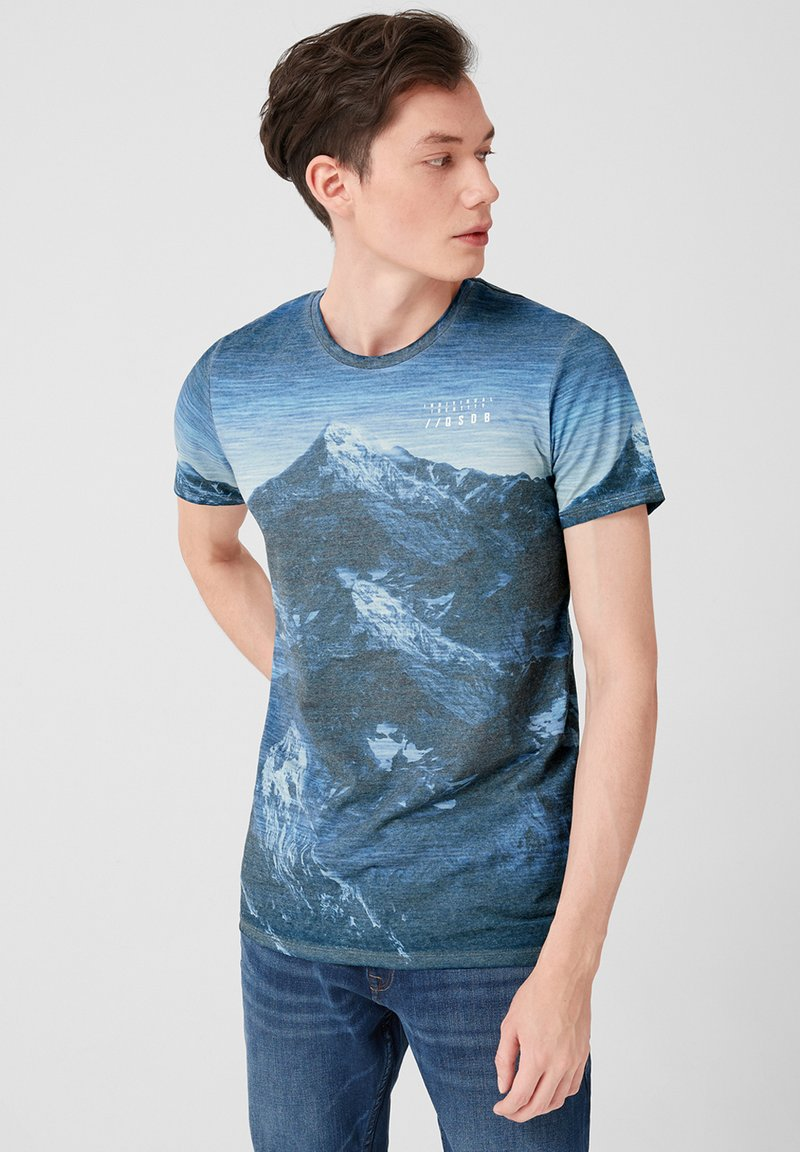 Q/S designed by - MIT FADE OUT-PRINT - Print T-shirt - blue