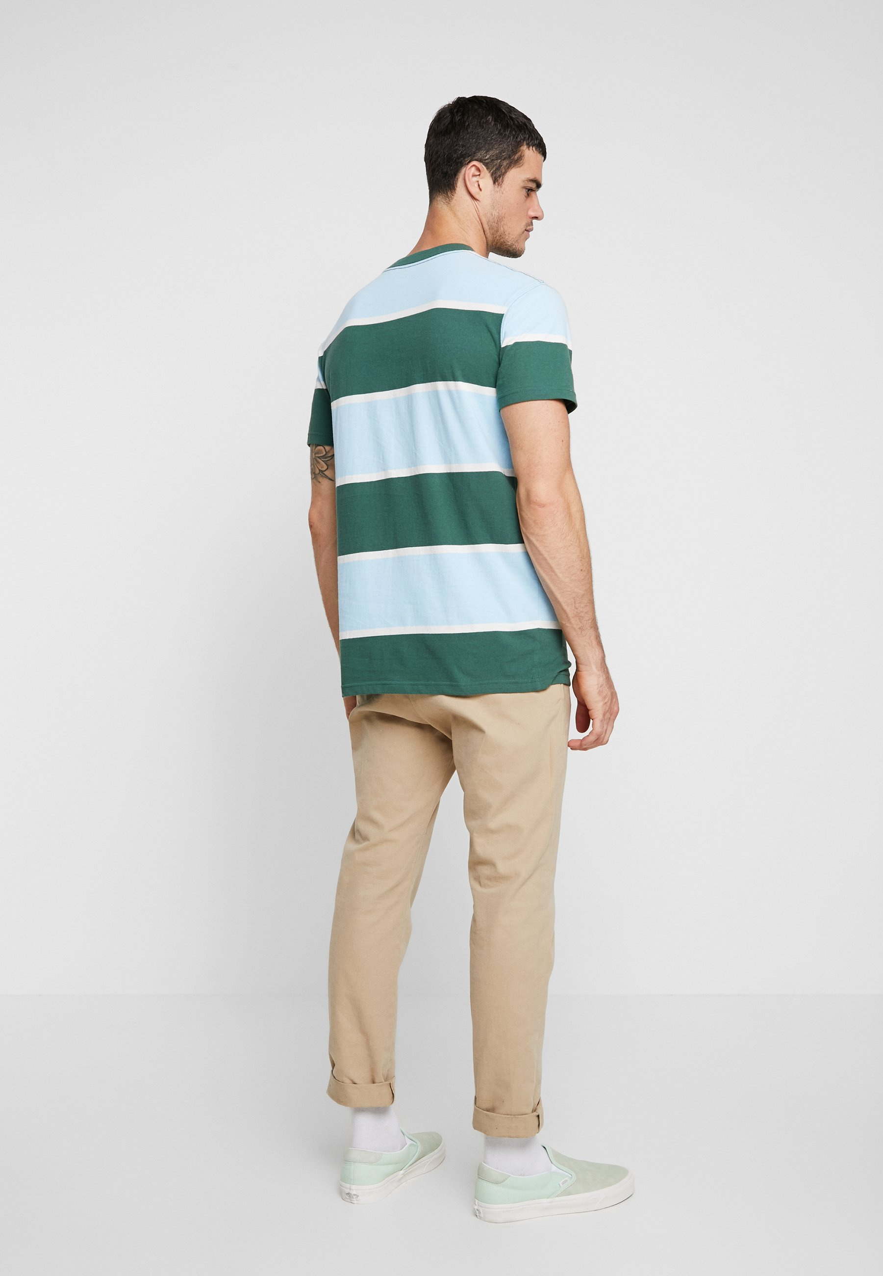 Acid yellow Stripe TeeT Con Stampa shirt Blue Light Quiksilver green 0kOwP8nX