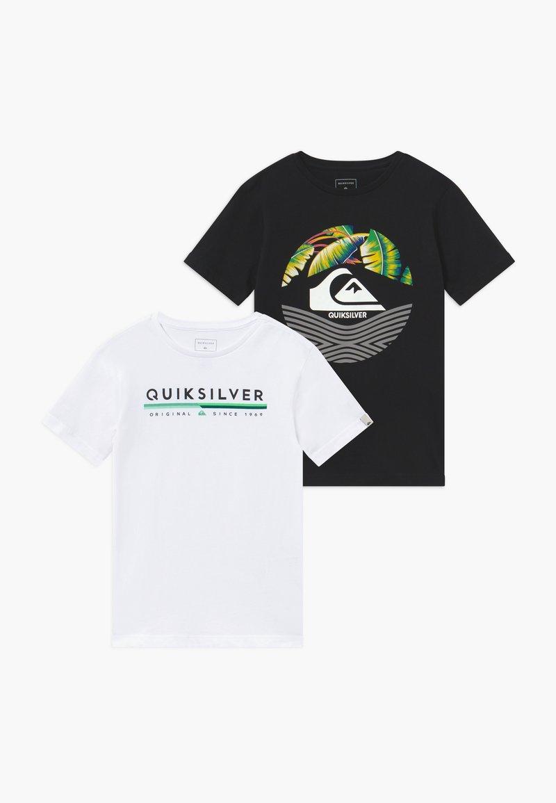 Quiksilver - RETRO STOMPED FLAXTON 2 PACK - T-shirt imprimé - black/white