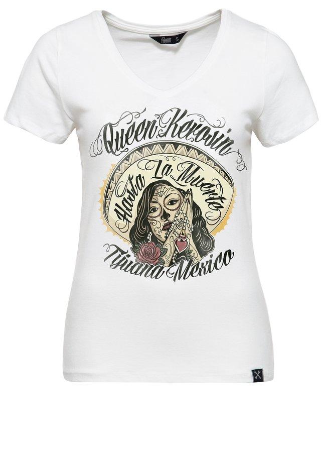 MIT V-AUSSCHNITT UND FRONTPR - T-shirt imprimé - offwhite