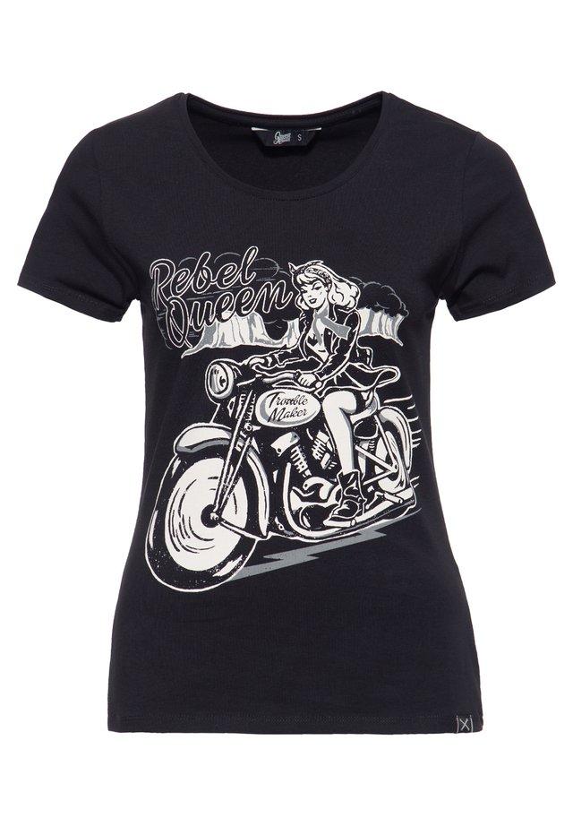 MIT LÄSSIGEM BIKER-DRU - T-shirt imprimé - black