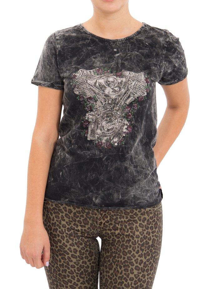 MIT DRUCK UND ÄRMELAUFSCHLAG - T-shirt imprimé - schwarz