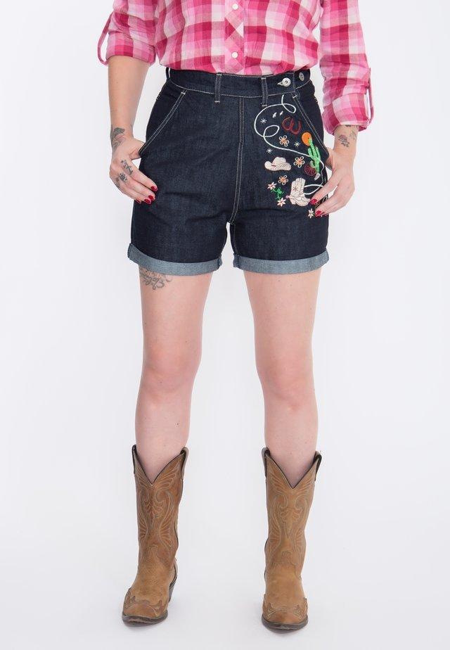MIT STICKEREIEN  - Denim shorts - dunkelblau