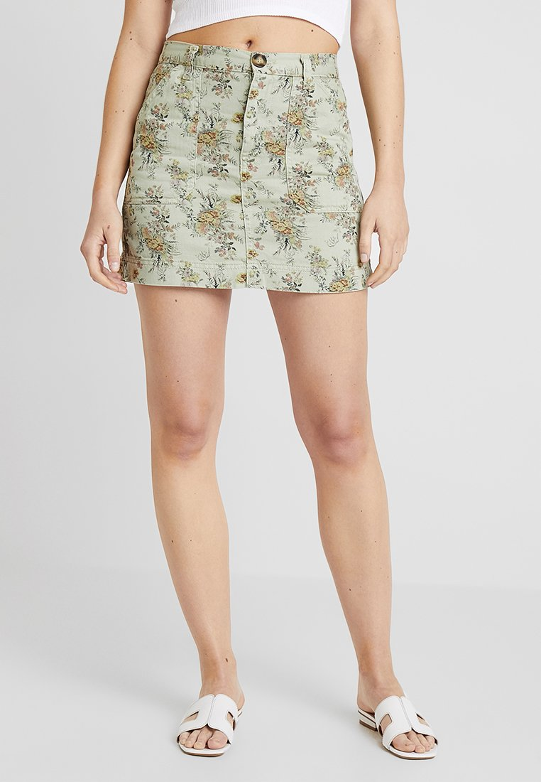 BDG Urban Outfitters - FLORAL SKIRT - Gonna a campana - green