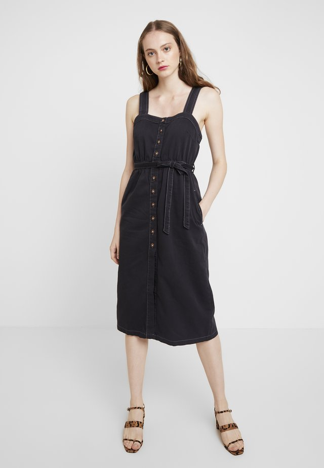 CORDELIA MIDI DRESS - Denim dress - black