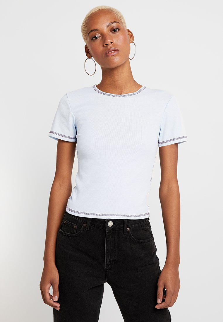BDG Urban Outfitters - CONTRAST STITCH TEE - Basic T-shirt - light blue