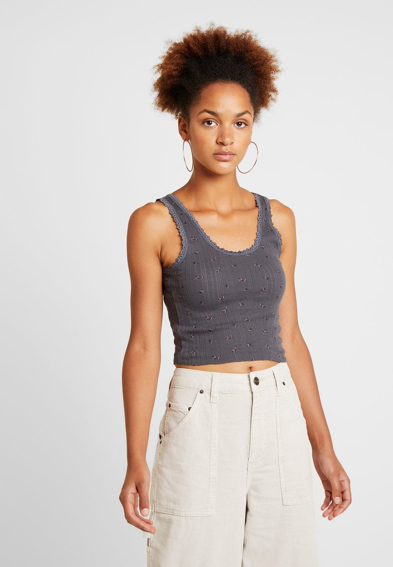 BDG Urban Outfitters - PRINT POINTELLE TANK - Top - dark grey