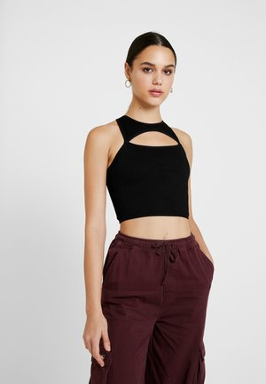 LASER CUT RACER CROP - Top - black