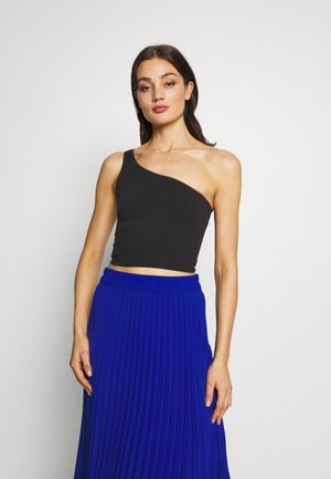 ONE SHOULDER SEAMLESS TOP - Toppe - black
