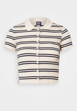 STRIPED COLLARED - Skjorte - black/beige