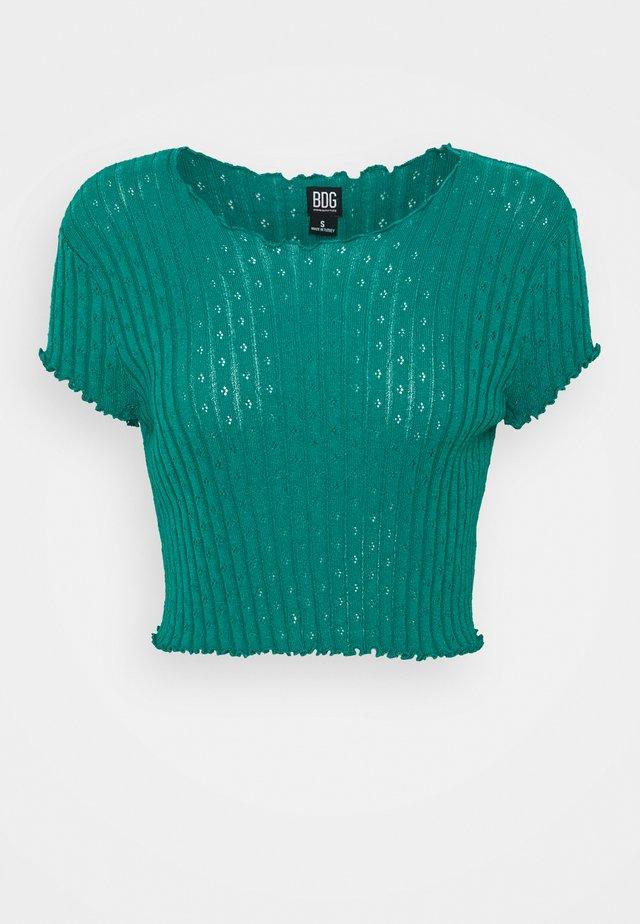 POINTELLE TEE - T-shirt med print - teal