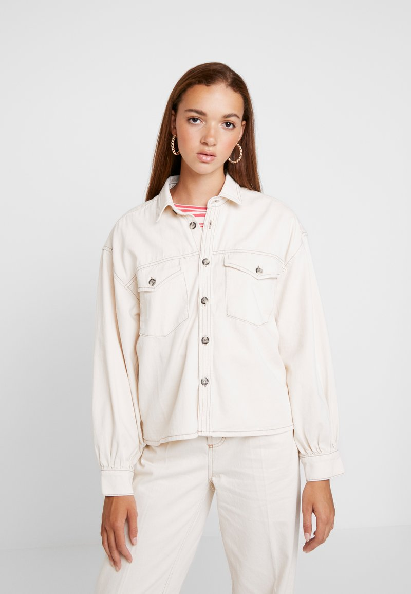 BDG Urban Outfitters - CONTRAST STITCH POET - Button-down blouse - ecru