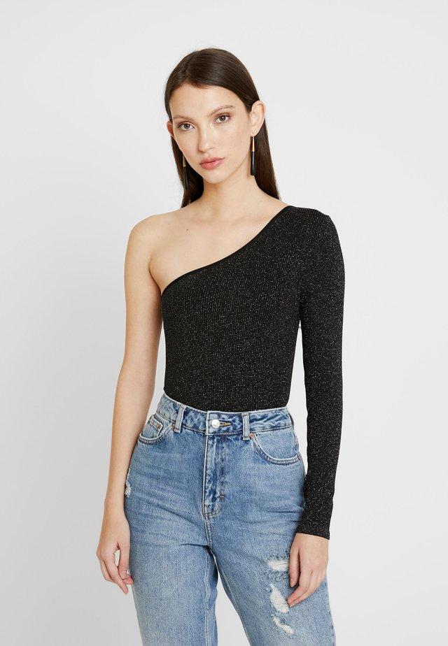 ONE SHOULDER BODYSUIT - T-shirt à manches longues - black/silver