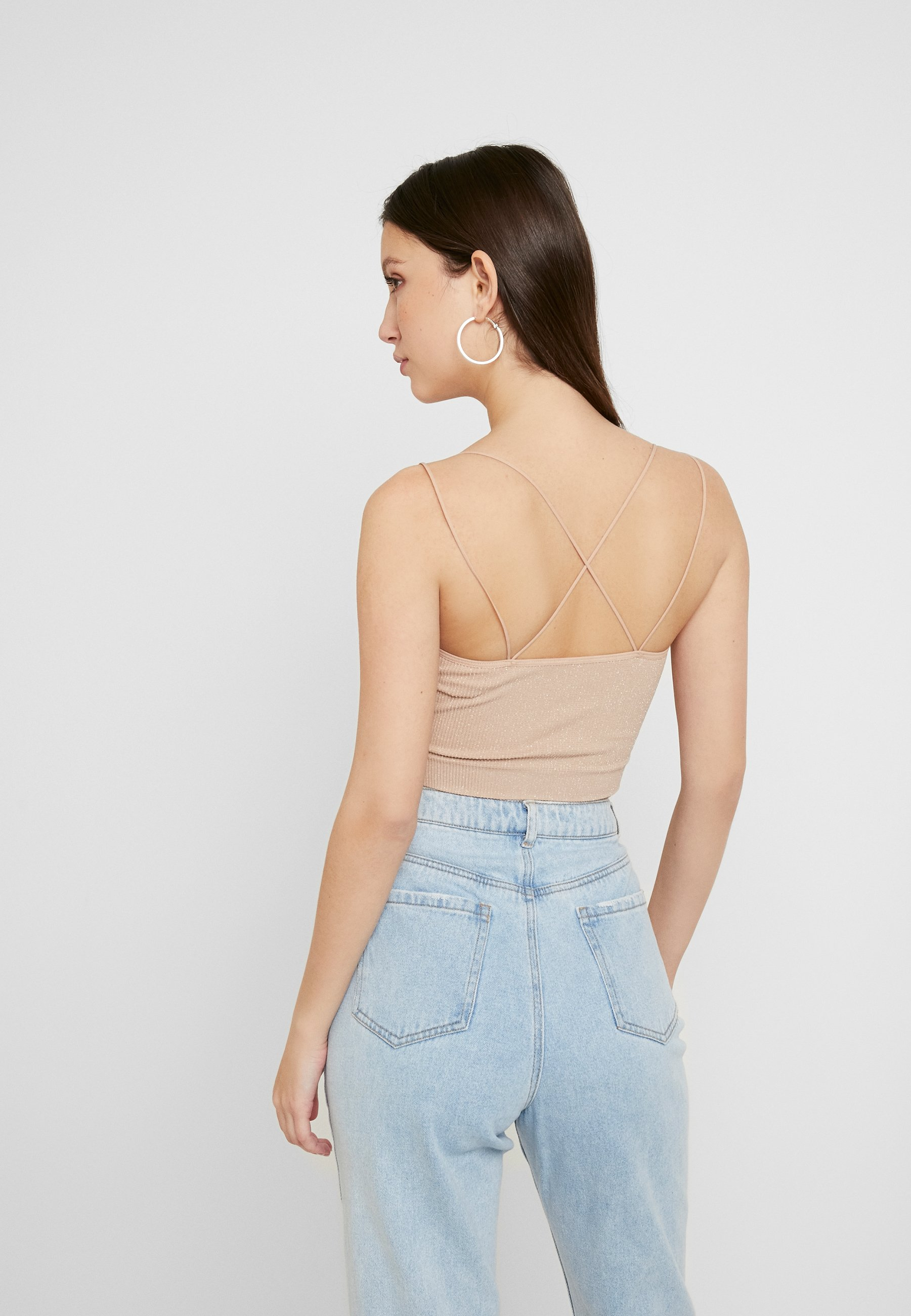 BDG Urban Outfitters GLITTER STRAPPY BACK CAMI - Topper - nude