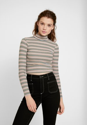 STRIPED TURTLENECK SWEATER - Pullover - stone/grey