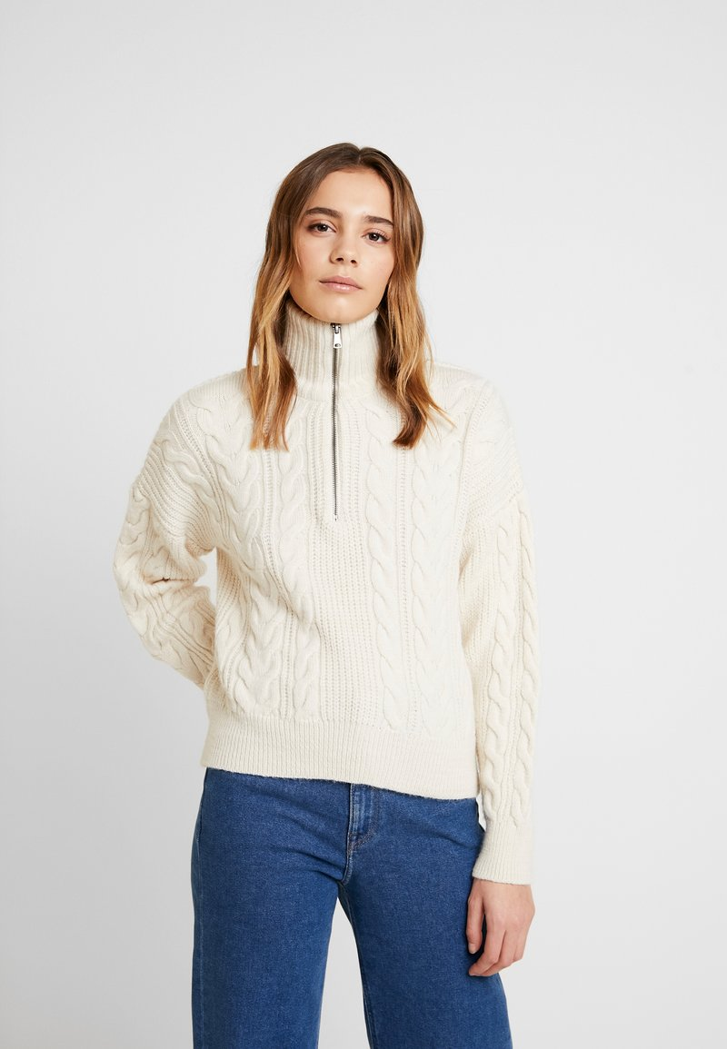 BDG Urban Outfitters - CABLE ZIP - Jumper - ecru