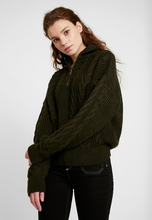 CABLE ZIP - Sweter - khaki