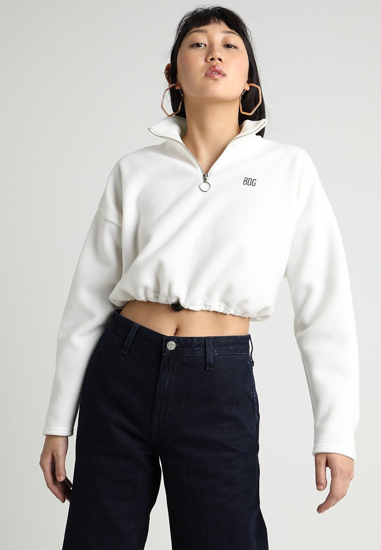 BDG Urban Outfitters - FUNNEL NECK TRACK - Fleecepullover - ivory