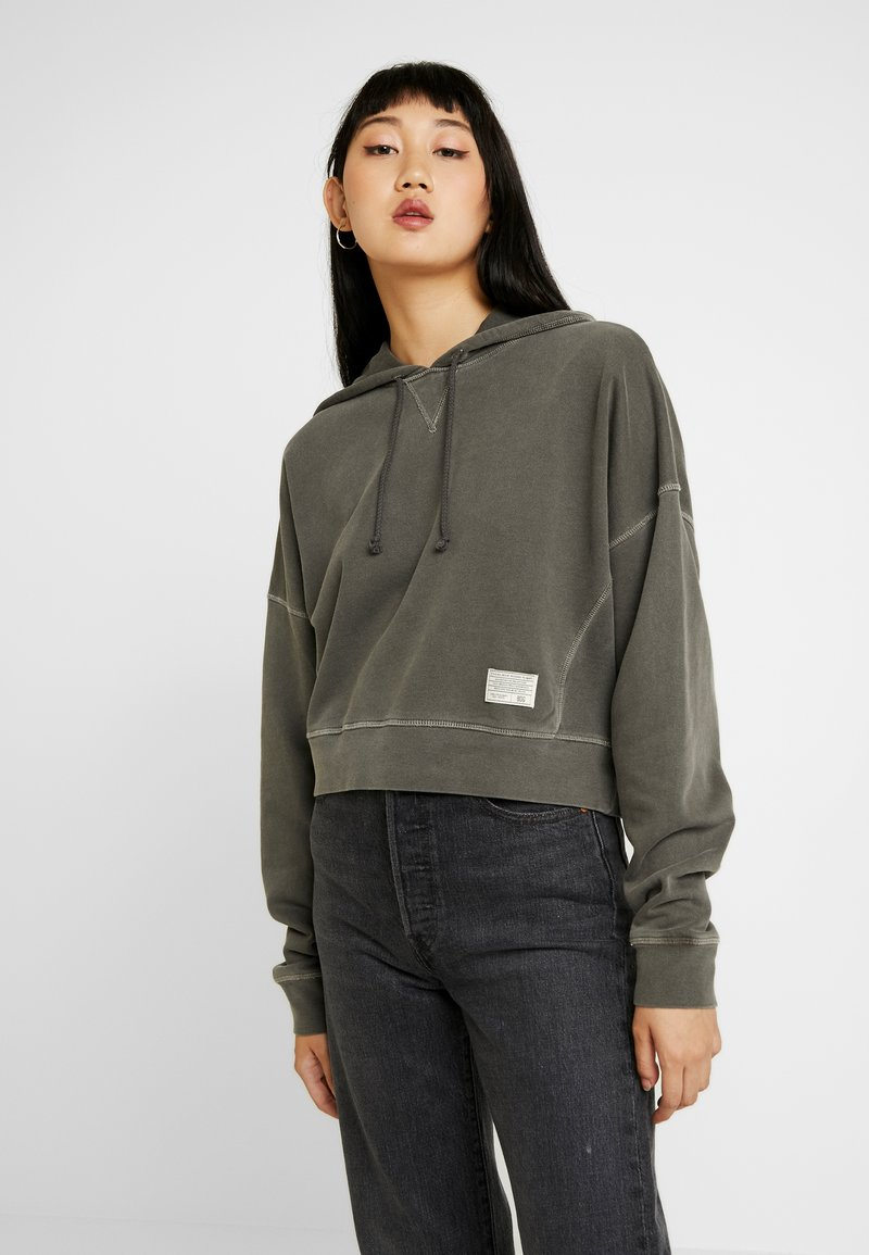 BDG Urban Outfitters - CROPPED SLOUCHY HOODIE - Bluza z kapturem - dark shadow