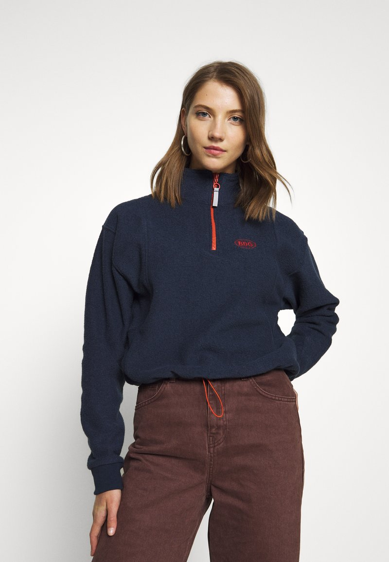 BDG Urban Outfitters - TOWELING TRACK JACKET - Fleece trui - navy