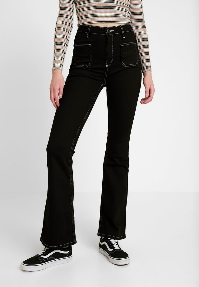 CONTRAST STITCH - Flared Jeans - black