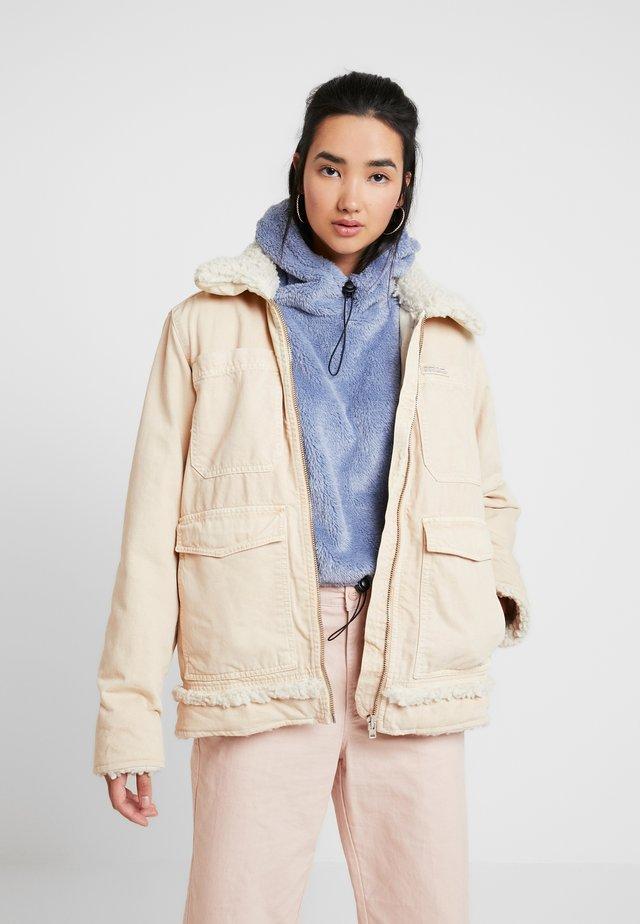 SHERPA LINED UTILITY COAT - Denim jacket - ecru