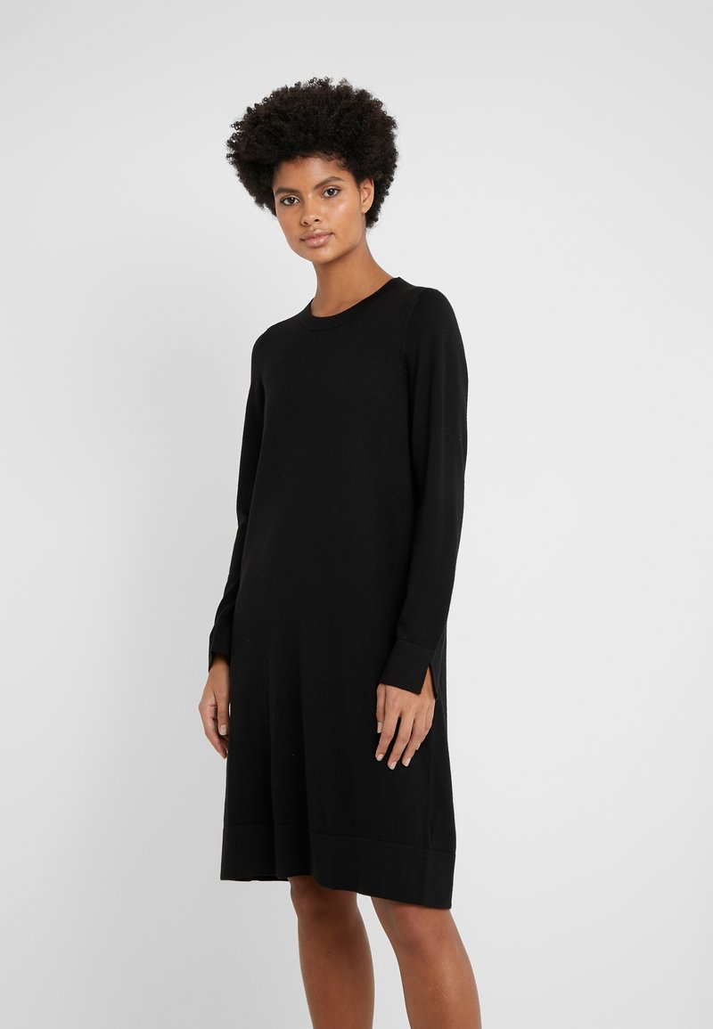 Repeat - CREW NECK DRESS - Strikkjoler - black