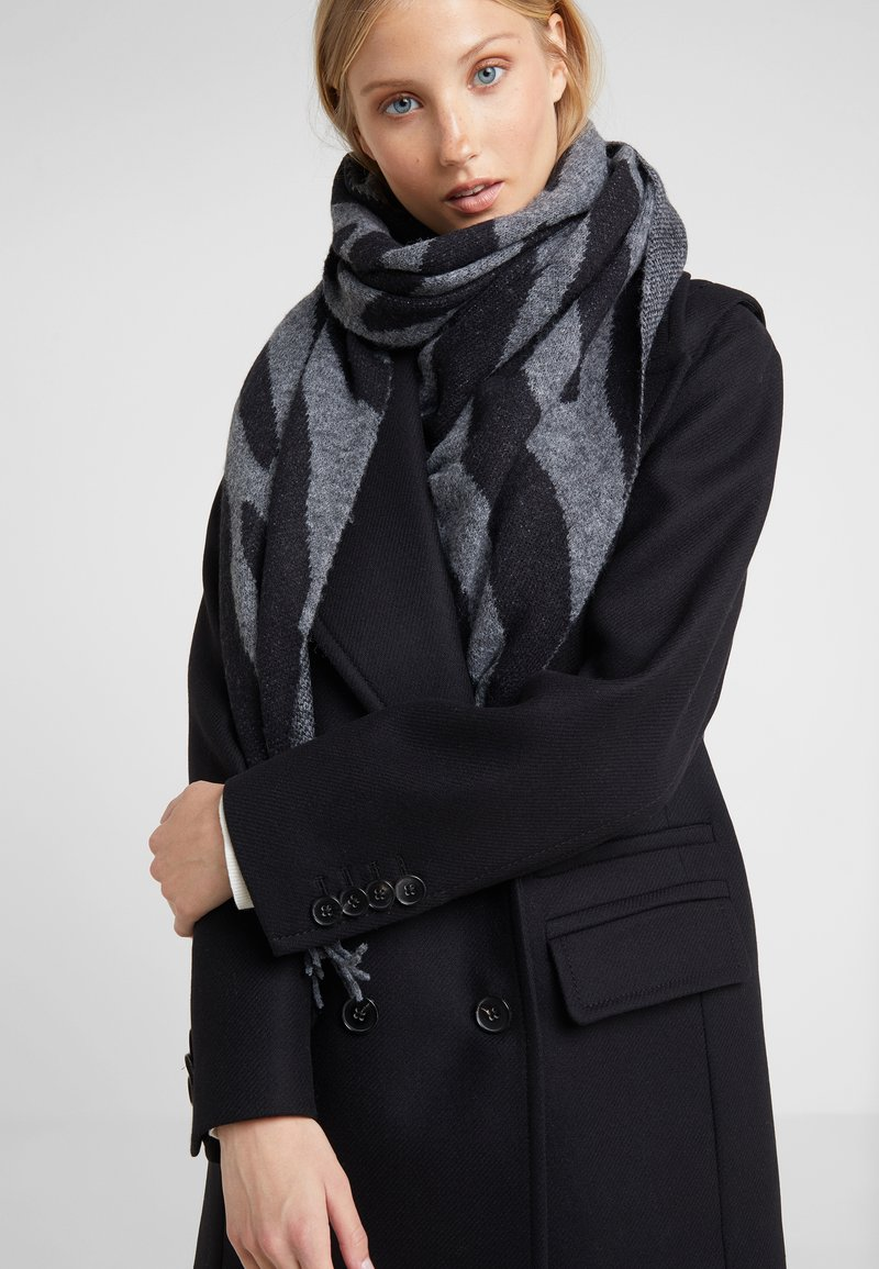 Repeat - SCARF - Szal - grey/black