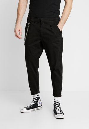 LEE CROPPED PANTS - Tygbyxor - black