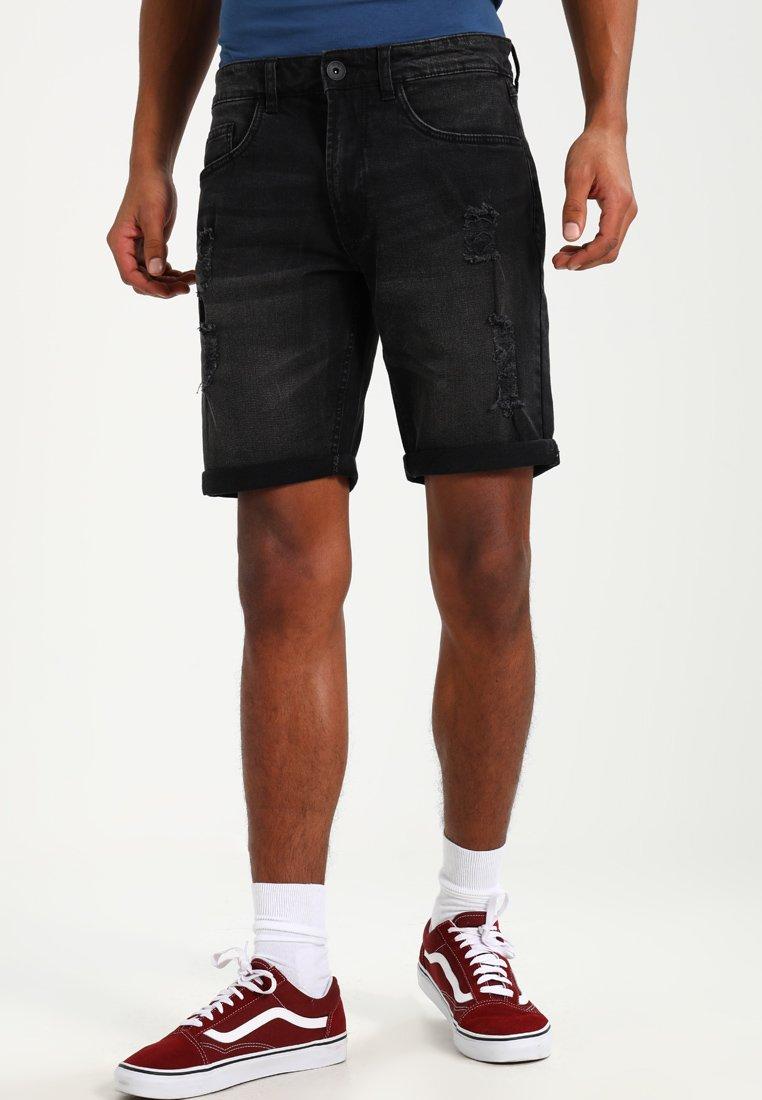 Redefined Rebel - OSLO DESTROY  - Denim shorts - sbit black