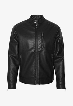 RIVER JACKET - Imitatieleren jas - black