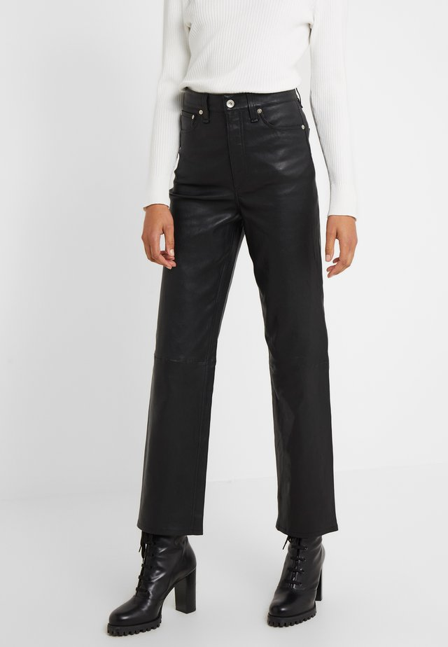 JANE TROUSER - Nahkahousut - black