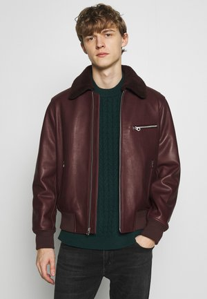 FLIGHT JACKET - Veste en cuir - oxblood