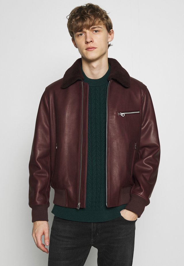 FLIGHT JACKET - Leren jas - oxblood