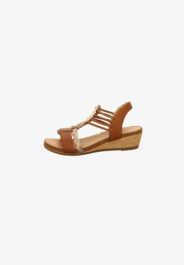 Wedge sandals - braunkombi