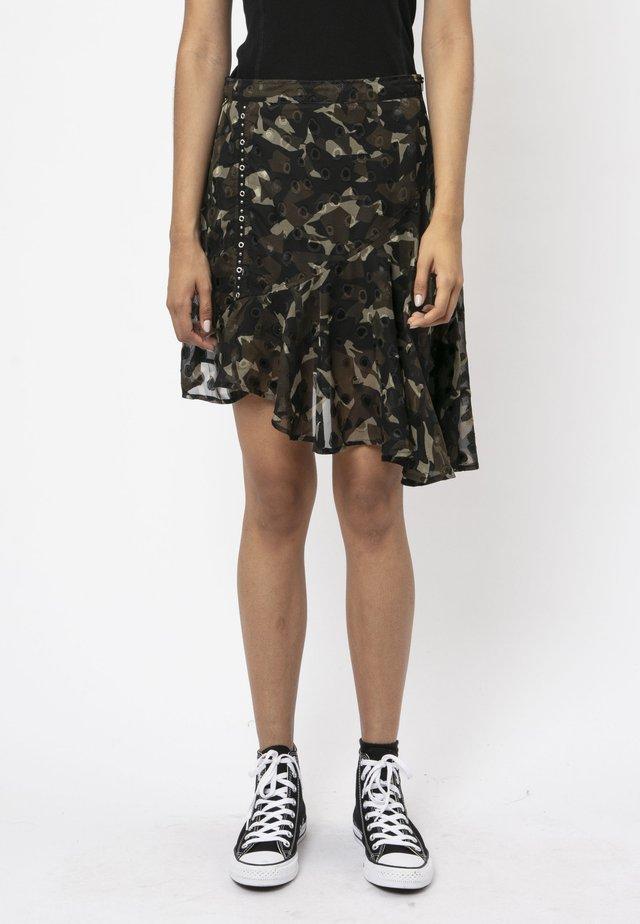 A-line skirt - mottled dark green