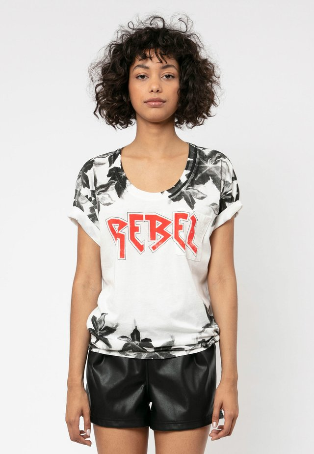 REBEL - Print T-shirt - winter white