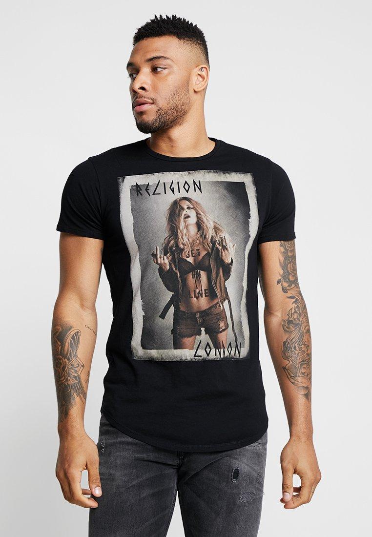 Religion - GET IN LINE CURVE HEM TEE - Camiseta estampada - black