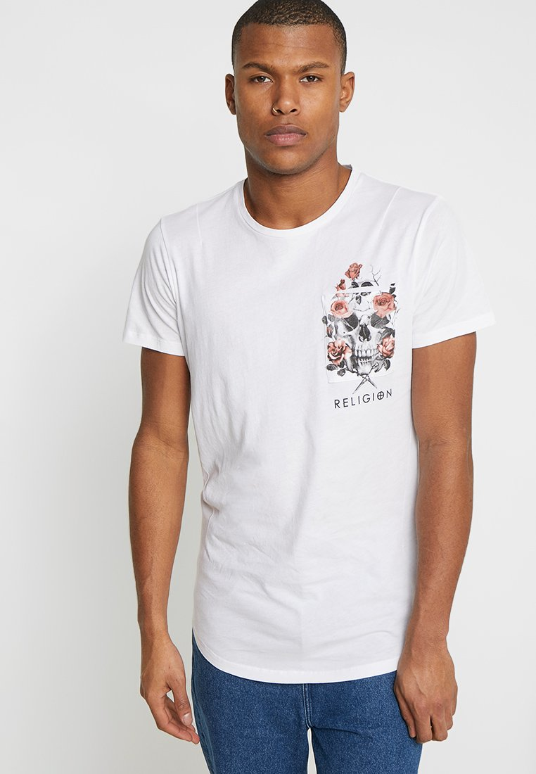 Religion - POCKET CURVE HEM TEE - Print T-shirt - white