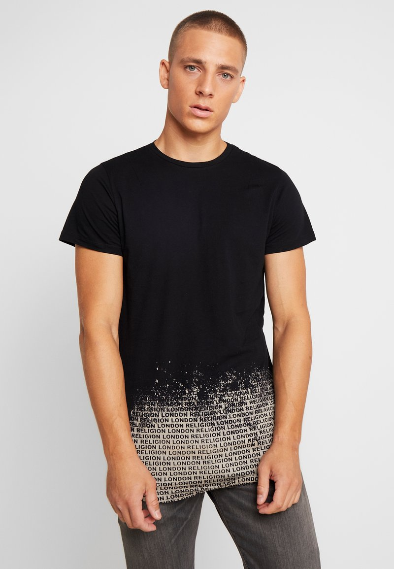 Religion - CLOUDY CURVED HEM TEE - Camiseta estampada - black